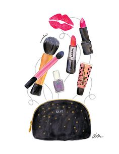 Makeup Bag - Lipstick, Nail Polish, Brushes Watercolor Illustration Print