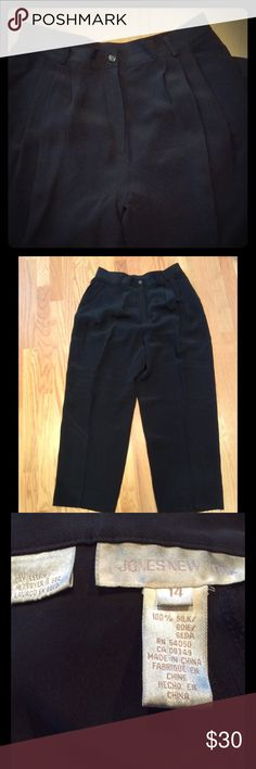 Black silk pant! Jones New York! Timeless! EUC! Black silk pant by Jones New York! Timeless! Always EUC! Perfect price for holiday or office. So versatile and smooth! Pair with an oversized turtleneck - or silk tank and jean jacket - silver or pearls - or the maroon silk blazer I listed recently. Front zipper and pleats, with belt loops around. Jones New York Pants Trousers