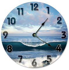 Large 10.5' Wall Clock Decorative Round Wall Clock Home Decor Novelty Clock OCEAN SURF WAVES *** Click image for more details. (This is an affiliate link and I receive a commission for the sales)