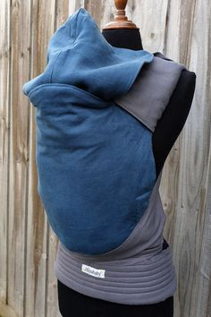 Custom reversible linen baby size half buckle with a gorgeous deep teal panel and hood teamed with charcoal straps. This carrier has a removable hoodie hood, leg padding and standard padded straps Deep Teal, Baby Size, Charcoal, Legs, Hoodies, Parka, Sweatshirts