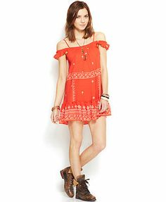 Free People Embroidered Flounce Slip Dress