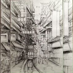 Rainy Chinse Street Fineliner and marker 6 hours of fun