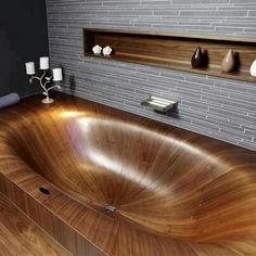 Oh my God, this is unbelievably beautiful. Wood tub