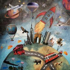 "Anastasia Titova - ""The World"" #handmade #collage, 30cm by 30cm."