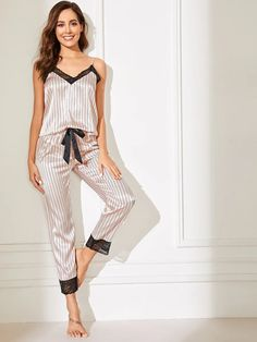 To find out about the Lace Trim Satin Cami Top & Striped Pants PJ Set at SHEIN, part of our latest Night Sets ready to shop online today! Cute Sleepwear, Satin Sleepwear, Sleepwear Women, Pajamas Women, Nightwear, Sleepwear & Loungewear, Cami Tops, Lingerie Outfits, Sexy Outfits