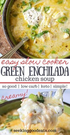 The best keto soup! Creamy green enchiladas chicken soup is so tasty and easy to make in the crockpot. Keto slow cooker Mexican soup is the perfect weeknight dinner recipe. Easily adapted Instant Pot recipe so you've got even more options. A perfect Mexican Soup Recipes, Chicken Recipes, Keto Chicken Soup, Creamy Chicken Soups, Chicken Green Chili Soup, Chicken Instant Pot Recipe, Fish Recipes, Recipes For One, Best Recipes For Dinner