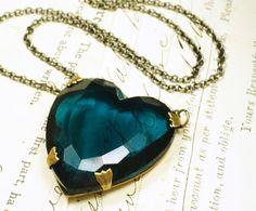 Jewel heart necklace vintage teal blue zircon by mylavaliere, $33.00