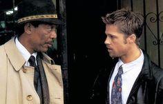 Seven. Pecados capitales de David Fincher. El teniente Somerset (Morgan Freeman) y el detective John Mills (Brad Pitt)