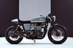 Triumph Bonneville Cafe Racer - Bunker Custom. Una preciosidad de moto construida al detalle. Entra y disfruta de esta Triumph tan elegante.