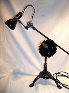 Fostoria Crank Gear Adjustable Steampunk Tripod Sewing Desk or Table Lamp   eBay