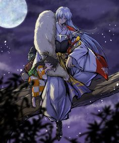 Sesshomaru with Jaken and Rin sleeping on his lap in the tree from Inuyasha Inuyasha Funny, Rin And Sesshomaru, Inuyasha Fan Art, Inuyasha And Sesshomaru, Kagome And Inuyasha, Kagome Higurashi, Manga Art, Manga Anime, Anime Art