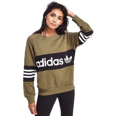 adidas Originals Street Crew Sweatshirt ($59) ❤ liked on Polyvore featuring tops, hoodies, sweatshirts, retro crew neck sweatshirts, round top, adidas originals sweatshirt, brown sweatshirt and oversized sweatshirts