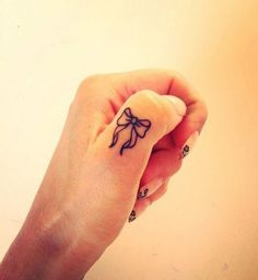Cute Bow Finger Tattoo.                                                                                                                                                                                 More