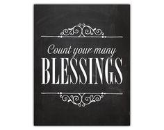 christian art, chalkboard wall decor, count your blessings, thanksgiving art