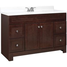bathroom cabinet idea from lowes.   Style Selections Alstead 48-in x 21-in Espresso Traditional Bathroom Vanity