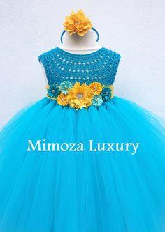 Carribean Blue turquoise tutu dress birthday dress by MimozaLuxury