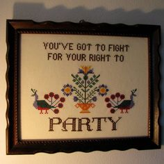 PATTERN ONLY Fight For Your Right Cross by PurpleHippoStitches, $7.00