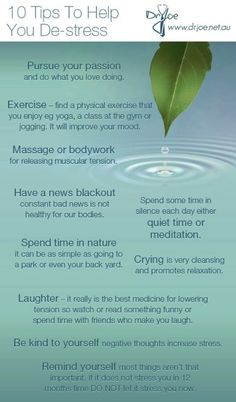 10 Tips To Help You De-Stress happy happiness positive emotions stress mental health confidence stress relief self improvement self help emotional health Stress Less, Stress Free, Stress Relief, Work Stress, Anti Stress, Health Tips, Health And Wellness, Health Fitness, Mental Health