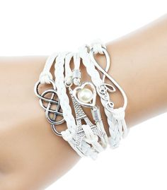 White Leather Rope Bracelet Celtic, Eiffel Tower, Heart, Pearl, Love Charm