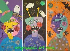 S art room: picasso monsters! i've seen picasso s Art Halloween, Halloween Art Projects, Fall Art Projects, Classroom Art Projects, School Art Projects, Art Classroom, Halloween Witches, Halloween Stuff, Happy Halloween