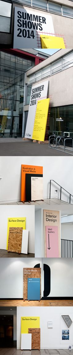 Branding and exhibition design for the Summer Shows 2014, at the London College of Communication.