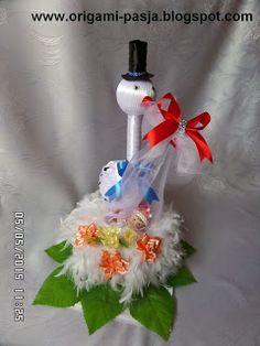 www.origami-pasja.blogspot.com: Bocian - prezent ślubny.
