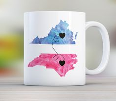 """Grandma Long Distance State Mug with Quote, Personalize, All states available, Countries and Provinces too, 11oz or 15 oz. Our state mug design with the quote """"My grandma forever never apart maybe in distance but never at heart"""" Personalize with any two states, country or province and choose colors from available options! The silhouettes are placed as geographically as we can with a bit of artistic liberty. Need another name in place of Grandma, no problem, include the name you need in…"""