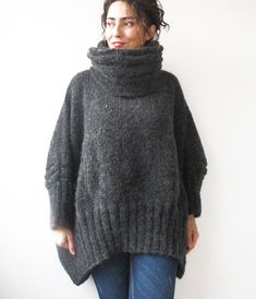 20% WINTER SALE Dark Gray Hand Knitted Sweater with by afra