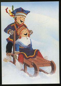 By Éphémeride seasonal calender Swedish Christmas, Christmas Photos, Kids Christmas, Christmas Cards, Christmas Postcards, Winter Illustration, Children's Book Illustration, Luge, Vintage Cards