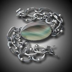 IMPERIAL JASPER BRACELET Sterling Silver Bracelet Chain by xaosart, $298.00