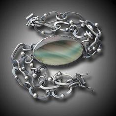 IMPERIAL JASPER BRACELET Sterling Silver Bracelet Chain and stone B. Sasik