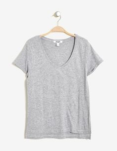 tee-shirt col v basic gris chiné