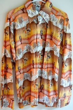 Deadstock 70s Men's Poly shirt in Funky by NorthCountryClassics, $36.00