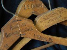 old wooden hangers