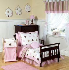 Sweet Jojo Designs Pink And Chocolate Mod Dots Toddler Bedding Set - Modern Pink Toddler Bed, Toddler Comforter Sets, Girls Bedding Sets, Toddler Rooms, Girls Bedroom, Girl Toddler, Bedroom Ideas, Kids Rooms, Girl Bedding
