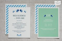 http://cudowianki.pl/blekit-paryski/  Simple, modern, beautiful wedding invitation by Cudowianki. | Nowoczesne zaproszenia ślubne w stylu eko by Cudowianki.