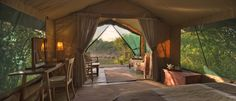 Interior of a Rekero Camp guest tent Masai Mara.