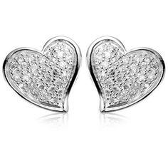 3b3631762 Amazon.com: Sterling Silver Cubic Zirconia Pave Heart Stud Earrings (0.81  cttw): Stud Earrings: Jewelry