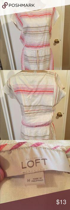 Short Sleeved Striped Dress with Drop Waist Short Sleeved Striped Dress with Drop Waist LOFT Dresses Midi