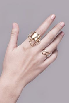 SALE 30% OFF Vicky Ring, Gold Statement Ring, Contemporary Ring, Geometric Gold Ring, Gold Cocktail Ring, Architectural Ring