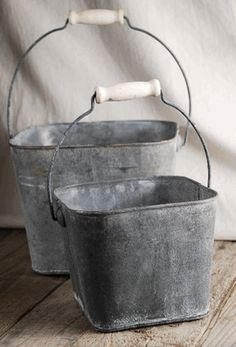Flower Shop Pails with Handles (Set of 2) I can see these on pretty hooks to hold towels in a bath, or with pretty floral arrangements, or even to hold kitchen utensils... So cute!