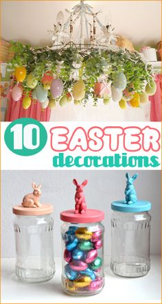 10 Easter Decorations. Fun and easy Easter decorations for your home. Festive crafts to make with the kids or on your own. DIY arts and crafts for Easter.