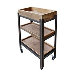 Kingsley Minor - 3 Shelf Trolley Unit with Wooden Trays on Castors Trolley Table, Tea Trolley, Kitchen Trolley, Rustic Wooden Shelves, Wooden Trays, Barn Wood Projects, Welding Projects, Retail Fixtures, Wood Interiors