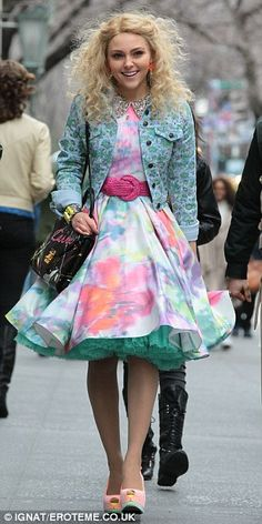Stylish: AnnaSophia cut a fine dash in her pastel coloured, fifties inspired outfit