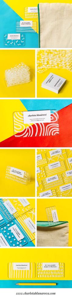 Creative colorful modern plastic business cards by designer Charlota Blunarova. Transparent plexiglass handdrawn with white permanent marker. Plastic Business Cards, Unique Business Cards, Business Card Design, Brand Identity Design, Corporate Design, Branding Design, Logo Design, Brochure Design, Self Branding