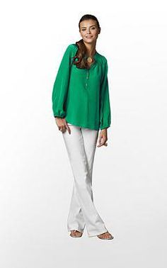 Lilly Pulitzer green long sleeve blouse with gold detailed buttons Metallic  Scarves, Preppy Look, 3ba8155f9f8