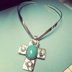 Beautiful V-neck Choker with turquoise cross stone