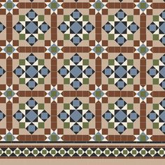 Victorian Floor Tiles - the complex Osborne pattern with Browning border is an exmaple of the Victorian Floor Tile style at its best. Floor Patterns, Tile Patterns, Hall Flooring, Flooring Ideas, Minton Tiles, Paving Design, Tile Design, Hall Tiles, Porch Tile
