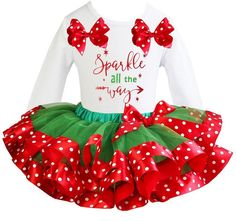 Kirei Sui Red Green Tutu & Sparkle All The Way Tee Small White. Package included: 1 x tutu, 1x tee. Material: Cotton and Polyester. Size: XS for 1-2Y, Size: S for 3-4Y, Size: M for 5-7Y. Color: As picture.