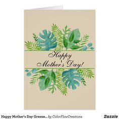 Shop Happy Mother's Day Greenery Leaves Watercolor Card created by ColorFlowCreations. Mothers Day Crafts For Kids, Diy Mothers Day Gifts, Fathers Day Cards, Happy Mothers Day, Diy Mother's Day Crafts, Mother's Day Diy, Kid Crafts, Mothers Day Drawings, Birthday Cards For Mum